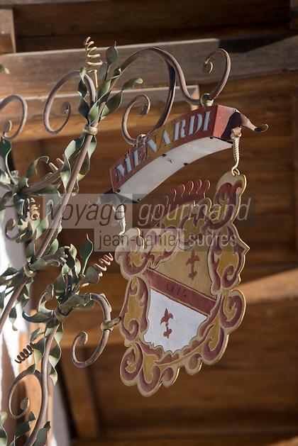Europe/Italie/Vénétie/Dolomites/Cortina d'Ampezzo: Chalet Auberge de Montagne Baita Fraina  détail de l'enseigne