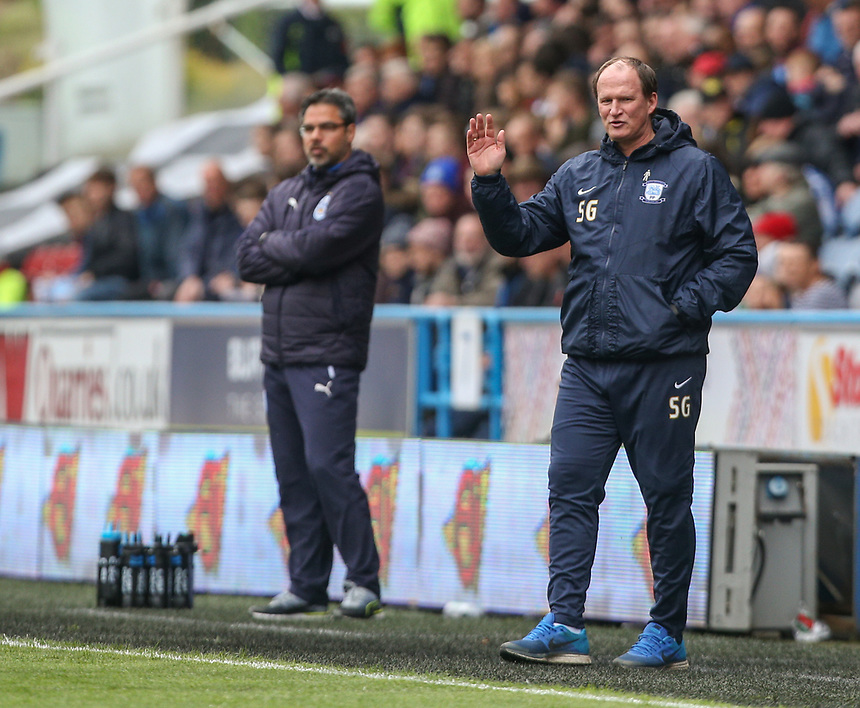 Preston North End manager Simon Grayson shouts instructions to his team from the technical area during the first half <br /> <br /> Photographer Alex Dodd/CameraSport<br /> <br /> The EFL Sky Bet Championship - Huddersfield Town v Preston North End - Friday 14th April 2016 - The John Smith's Stadium - Huddersfield<br /> <br /> World Copyright &copy; 2017 CameraSport. All rights reserved. 43 Linden Ave. Countesthorpe. Leicester. England. LE8 5PG - Tel: +44 (0) 116 277 4147 - admin@camerasport.com - www.camerasport.com