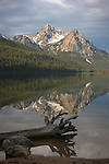 First light on Mcgowan Peak over Stanley Lake in the Sawtooth Range of South central Idaho. McGowan peak is 9860 ft.