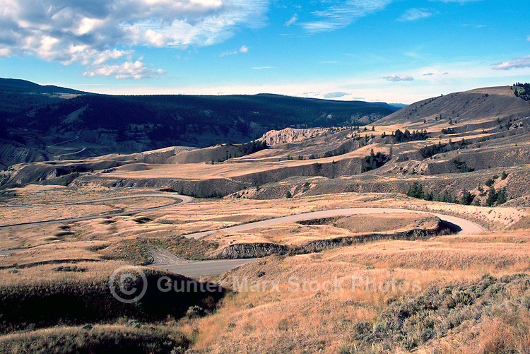 Cariboo Chilcotin Coast Region, BC, British Columbia, Canada - Farwell Canyon Road, a Rural Backroad winding through Rugged Badlands Country