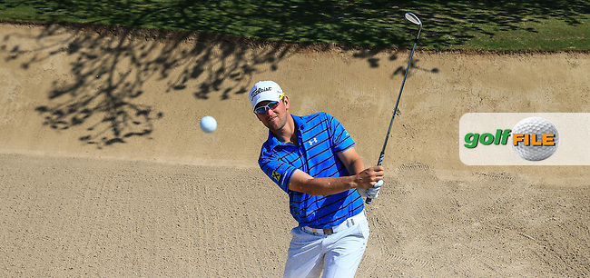 Out of the bunker on the 5th Bernd Wiesberger (AUT) during a practice round ahead of the 2016 Omega Dubai Desert Classic, played on the Emirates Golf Club, Dubai, United Arab Emirates.  02/02/2016. Picture: Golffile | David Lloyd<br /> <br /> All photos usage must carry mandatory copyright credit (&copy; Golffile | David Lloyd)