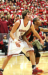 Caleb Forrest (#52), Washington State senior forward, fights for rebounding position with Oregon State's Seth Tarver (#15) during the Cougars Pac-10 conference game with the Beavers on February 14, 2009, in Pullman, Washington.  Despite a 12 point deficit at halftime, Oregon State came back to win the game 54-52.
