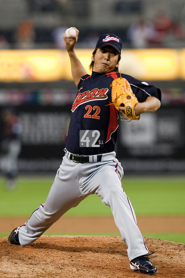 19 March 2009: #22 Kyuji Fujikawa of Japan pitches against Korea during the 2009 World Baseball Classic Pool 1 game 6 at Petco Park in San Diego, California, USA. Japan wins 6-2 over Korea.