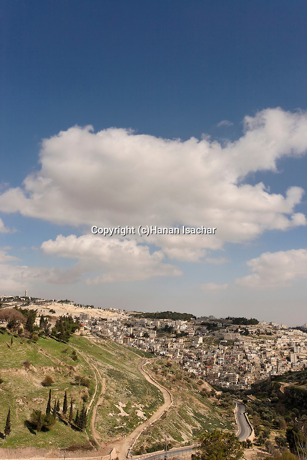 Israel, Jerusalem. Hinnom valley at the foothill of Mount Zion, Silwan is in the background