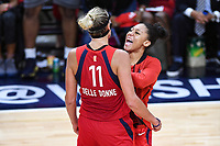 Washington, DC - Sept 17, 2019: Washington Mystics forward Elena Delle Donne (11) and Washington Mystics forward Aerial Powers (23) are fired up after Delle Donne hits what would go on to be the game winner during WNBA Playoff semi final game between Las Vegas Aces and Washington Mystics at the Entertainment & Sports Arena in Washington, DC. The Mystics hold on to beat the Aces 97-95. (Photo by Phil Peters/Media Images International)