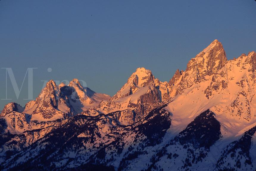Grand Teton Mountain at sunrise. Teton Mountain Range, Wyoming.