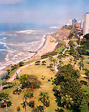 PERU, Lima,  South America, Latin America, high angle view of a coastline of Lima.