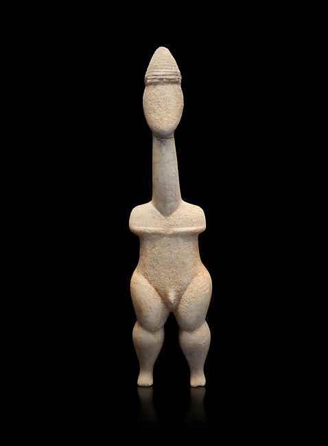 Cycladic statue figurine of the naturalistic 'Plastira' type of Paros. Early Cycladic Period I (Grotta-Pelos Phase 3200-2800 BC). National Archaeological Museum, Athens. Black background.<br /> This type of Cycladic figurine stand with feet lat to the ground with detailed facial features and ears to make a more realistic statue. This statue is of a hunter or warrior as it bears an incised weapon strap across its chest and holds a knife.