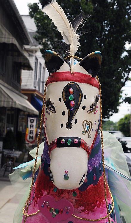 """A view of """"Nebula'"""" created by, Cora Masters, seen on Partition Street, one of the """"Rockin' Around Saugerties"""" theme Statues on display throughout the Village of Saugerties, NY, on Friday, June 9, 2017. Photo by Jim Peppler. Copyright/Jim Peppler-2017."""
