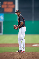 Batavia Muckdogs starting pitcher Humberto Mejia (19) gets ready to deliver a pitch during a game against the Lowell Spinners on July 16, 2018 at Dwyer Stadium in Batavia, New York.  Lowell defeated Batavia 4-3.  (Mike Janes/Four Seam Images)