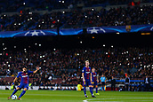 5th December 2017, Camp Nou, Barcelona, Spain; UEFA Champions League football, FC Barcelona versus Sporting Lisbon; Luis Suarez of FC Barcelona takes a free kick