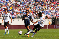 Valencia C. F. forward Jonathan Viera (17) shoots and scores. Valencia C. F. defeated F.C. Internazionale Milano 4-0 during round two of the 2013 Guinness International Champions Cup at MetLife Stadium in East Rutherford, NJ, on August 04, 2013.