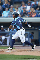 Darwin Alvarado (8) of the West Michigan Whitecaps follows through on his swing against the South Bend Cubs at Fifth Third Ballpark on June 10, 2018 in Comstock Park, Michigan. The Cubs defeated the Whitecaps 5-4.  (Brian Westerholt/Four Seam Images)
