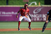 Altoona Curve third baseman Ke'Bryan Hayes (10) leads off second base during a game against the Richmond Flying Squirrels on May 15, 2018 at Peoples Natural Gas Field in Altoona, Pennsylvania.  Altoona defeated Richmond 5-1.  (Mike Janes/Four Seam Images)