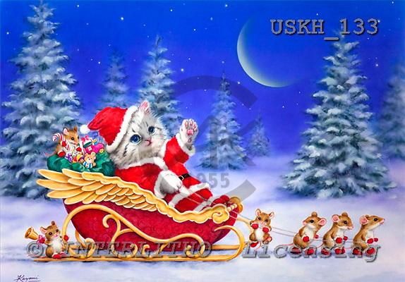 Kayomi, CHRISTMAS ANIMALS, paintings, SantaAndTheHelpers_M, USKH133,#XA# Weihnachten, Navidad, illustrations, pinturas