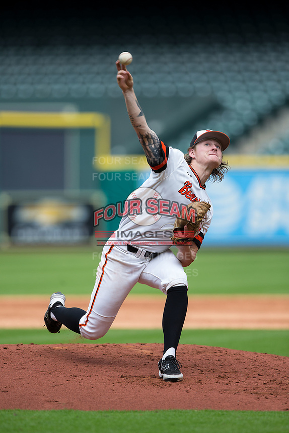 Sam Houston State Bearkats starting pitcher Riley Gossett (24) delivers a pitch to the plate against the Vanderbilt Commodores in game one of the 2018 Shriners Hospitals for Children College Classic at Minute Maid Park on March 2, 2018 in Houston, Texas.  The Bearkats walked-off the Commodores 7-6 in 10 innings.   (Brian Westerholt/Four Seam Images)