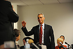 Rahm Emanuel raises his right hand before testifying at his residency hearing concerning his eligibility to run for mayor of Chicago in a basement Chicago Board of Elections conference room in Chicago, Illinois on December 14, 2010.