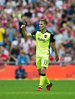Exeter's David Wheeler  after scoring during the Sky Bet League 2 PLAY OFF FINAL match between Exeter City and Blackpool at Wembley Stadium, London, England on 28 May 2017. Photo by Andrew Aleksiejczuk.