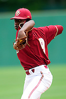 Boston College Eagles pitcher Justin Dunn (19) during a game versus the Notre Dame Fighting Irish at Pellagrini Diamond at Shea Field on May 15, 2015 in Chestnut Hill, Massachusetts.  (Ken Babbitt/Four Seam Images)
