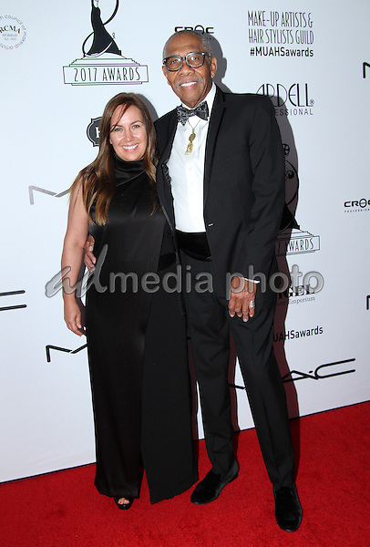 19 February 2017 - Los Angeles, California - Julia Lallas and Kenneth Walker<br /> <br /> .2017 Make-Up Artist &amp; Hair Stylists Guild (MUAHS) Awards held at The Novo. Photo Credit: AdMedia