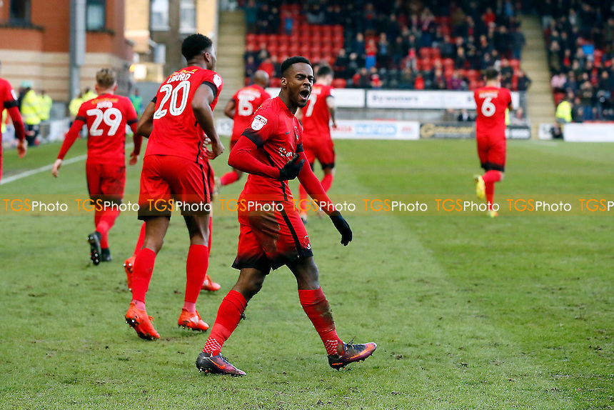 O's Gavin Massey scores and celebrates after opening the scoring during Leyton Orient vs Carlisle United, Sky Bet EFL League 2 Football at the Matchroom Stadium on 4th February 2017