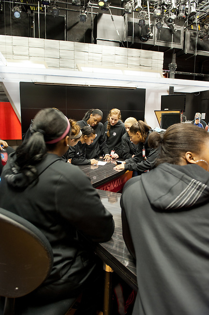 December  05, 2011 - Bristol, CT - ESPN Campus:  Texas A&M Women's Basketball team stops on the SportsNation set and looks at a left over script sheet during their tour or the ESPN Campus...Credit: /ESPN