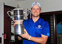 Bernd Wiesberger with the Eurasia Cup after Team Europe overcame Asia 14/10 at Glenmarie Golf and Country Club on the Sunday 14th January 2018.<br /> Picture:  Thos Caffrey / www.golffile.ie