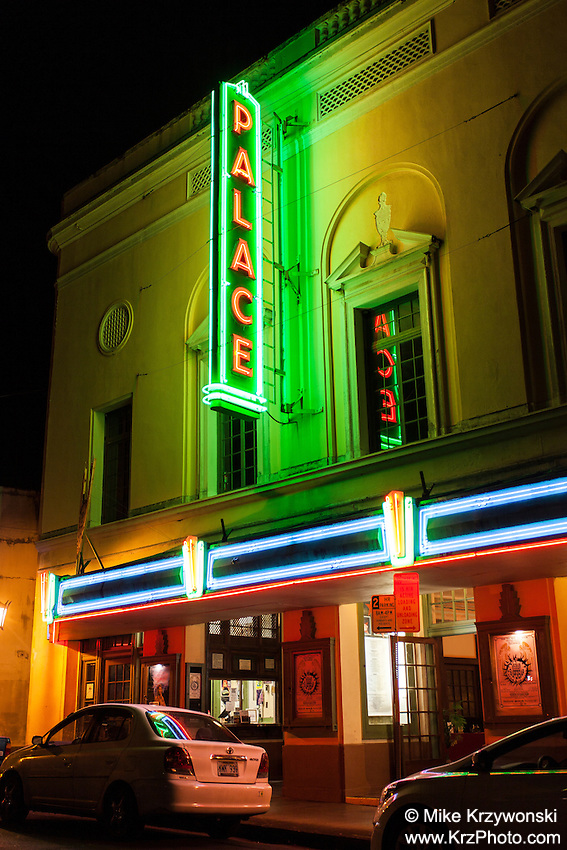Palace Theatre at night in downtown Hilo, Big Island, Hawaii