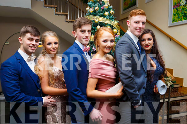 Attending the Mercy Mounthawk Debs at the Ballyroe Heights Hotel on Thursday night last., l to r, Killian Rahilly (Ballymac), Kasia Bella (Tralee), Joe O'Connor (Blennerville), Leona O'Shea (Tralee), Adam Boyle (Blennerville) and  Seniz Kuccuk (Tralee).