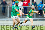 Mikey Boyle (Captain) Ballyduff in action against Jason Wallace Lixnaw in the Senior County Hurling Final in Austin Stack Park on Sunday