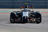 Sergio Perez of Sahara Force India F1 Team driving (11) VJM07 during first practice session of  2014 Formula 1 United States Grand Prix, Friday, October 31, 2014 in Austin, Tex. (Mo Khursheed/TFV Media via AP Images)