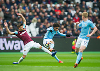 Manchester City Leroy Sane scoring first goal during the EPL - Premier League match between West Ham United and Manchester City at the Olympic Park, London, England on 29 April 2018. Photo by Andrew Aleksiejczuk / PRiME Media Images.