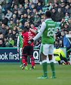 4th November 2017, Easter Road, Edinburgh, Scotland; Scottish Premiership football, Hibernian versus Dundee; Dundee's Marcus Haber celebrates after scoring with Roarie Deacon