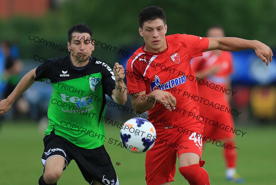 Fudbal season 2013-2014<br /> FK Crvena Zvezda pripreme<br /> Prijateljski mec<br /> Crvena Zvezda v Verzej<br /> Luka Jovic (R)<br /> Brezice, 07.09.2014.<br /> foto: Srdjan Stevanovic/Starsportphoto &copy;