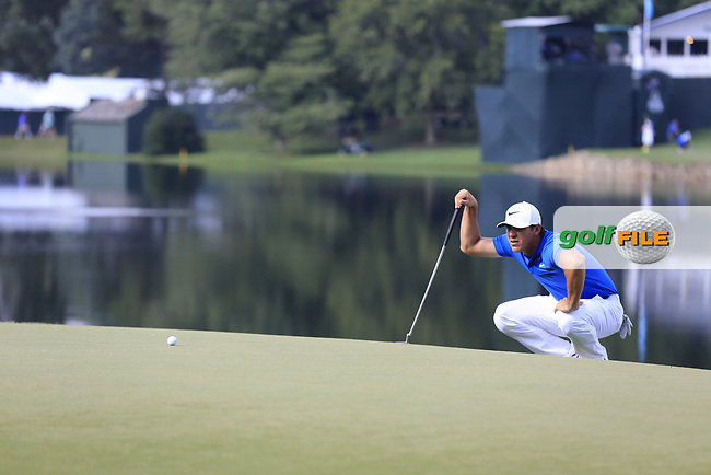 Brooks Koepka (USA) on the 14th green during Thursday's Round 1 of the 2017 PGA Championship held at Quail Hollow Golf Club, Charlotte, North Carolina, USA. 10th August 2017.<br /> Picture: Eoin Clarke   Golffile<br /> <br /> <br /> All photos usage must carry mandatory copyright credit (&copy; Golffile   Eoin Clarke)