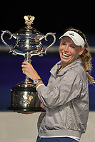 January 27, 2018: Number two seed Caroline Wozniacki of Denmark poses for photographs with the trophy after winning the Women's Final against number one seed Simona Halep of Romania on day thirteen of the 2018 Australian Open Grand Slam tennis tournament in Melbourne, Australia. Photo Sydney Low