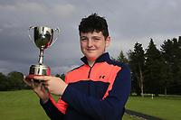 Lucas Lyons (Limerick) winner of the Connacht U14 Boys Amateur Open, Ballinasloe Golf Club, Ballinasloe, Galway,  Ireland. 10/07/2019<br /> Picture: Golffile | Fran Caffrey<br /> <br /> <br /> All photo usage must carry mandatory copyright credit (© Golffile | Fran Caffrey)