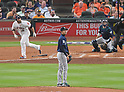 Hisashi Iwakuma (Mariners),<br /> APRIL 4, 2017 - MLB :<br /> Seattle Mariners starting pitcher Hisashi Iwakuma gives up a home run to Brian McCann of the Houston Astros in the third inning during the Major League Baseball game at Minute Maid Park in Houston, Texas, United States. (Photo by AFLO)
