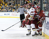 Matt Lombardi (BC - 24), Michael Del Mauro (Harvard - 13) - The Boston College Eagles defeated the Harvard University Crimson 6-0 on Monday, February 1, 2010, in the first round of the 2010 Beanpot at the TD Garden in Boston, Massachusetts.