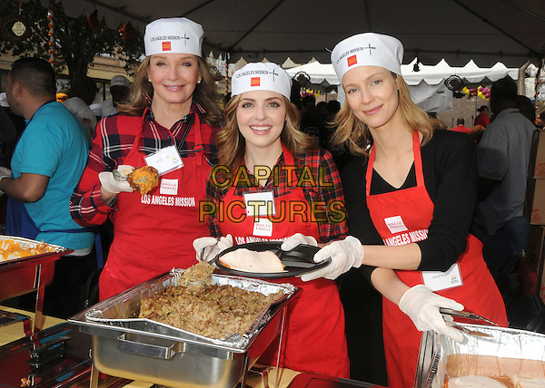 25 November 2015 - Los Angeles, California - Deidre Hall, Jen Lilley, Laura Regan. 2015 Los Angeles Mission Thanksgiving Meal for the Homeless held at the LA Mission. <br /> CAP/ADM/BP<br /> &copy;BP/ADM/Capital Pictures