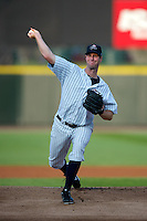 Empire State Yankees starting pitcher John Maine #25 during a game against the Indianapolis Indians at Frontier Field on August 4, 2012 in Rochester, New York.  Empire State defeated Indianapolis 9-8 in ten innings.  (Mike Janes/Four Seam Images)
