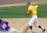 SIOUX FALLS, SD - MAY 24:  Aiden Hook #8 from NDSU tuns a double play as Payton Jeffers #20 from Western Illinois slides into second during the 2014 Summit League Championship game at the Sioux Falls Stadium. (Photo by Schyler Eggen/Inertia)
