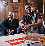 ".Tony ""Ham"" Guerrero and his son Alfredo Guerrero of the Tortilla Factory jazz group is nominated for a grammy this year despite Tony's need for a kidney transplant. Photographed at his home in Austin, Texas on February 2, 2009 ..Photo by Ben Sklar"