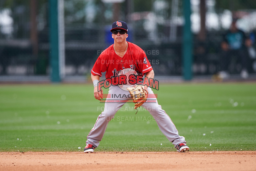 Louisville Bats second baseman Tony Renda (18) during a game against the Buffalo Bisons on June 23, 2016 at Coca-Cola Field in Buffalo, New York.  Buffalo defeated Louisville 9-6.  (Mike Janes/Four Seam Images)