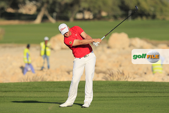 Bernd WIESBERGER (AUT) plays his 2nd shot on the 18th hole during Saturday's Final Round of the 2015 Commercial Bank Qatar Masters held at Doha Golf Club, Doha, Qatar.: Picture Eoin Clarke, www.golffile.ie: 1/24/2015