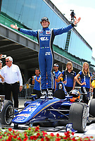 May 26, 2017; Indianapolis, IN, USA; Indy Lights Series driver Matheus Leist celebrates after winning the Freedom 100 at Indianapolis Motor Speedway. Mandatory Credit: Mark J. Rebilas-USA TODAY Sports
