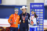 SPEEDSKATING: CALGARY: Olympic Oval, 02-12-2017, ISU World Cup, Podium 1000 Ladies Division A, Marrit Leenstra (NED), Heather Bergsma (USA), Yekaterina Shikova (RUS), ©photo Martin de Jong