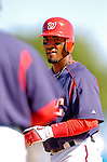 15 March 2006: Damian Jackson, infielder for the Washington Nationals, looks back to the first base coach after reaching base during a Spring Training game against the New York Mets. The Mets defeated the Nationals 8-5 at Space Coast Stadium, in Viera, Florida...Mandatory Photo Credit: Ed Wolfstein..