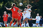 20 November 2016: North Carolina's Abby Elinsky (8) and Clemson's Claire Wagner (5). The University of North Carolina Tar Heels played the Clemson University Tigers at Fetzer Field in Chapel Hill, North Carolina in a 2016 NCAA Division I Women's Soccer Tournament Third Round match. UNC won the game 1-0.