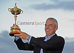 European Team Non-playing Captain Paul McGinley with the Ryder Cup <br /> <br /> Photographer Ian Cook/CameraSport<br /> <br /> International Golf - 2014 Ryder Cup - Day 3 - Sunday 28th September 2014 - PGA Centenary Course - Gleneagles Hotel - Auchterarder, Scotland<br /> <br /> &copy; CameraSport - 43 Linden Ave. Countesthorpe. Leicester. England. LE8 5PG - Tel: +44 (0) 116 277 4147 - admin@camerasport.com - www.camerasport.com